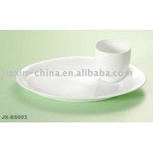 Conjunto de café da manhã de porcelana cor branca JX-BS603
