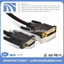 Gold überzogen 5ft VGA zu DVI -I 24 + 5 Schnur Mann zum Mann mit Nylon Netz Unterstützung 3D 1080P