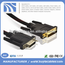 Позолоченный 5-футовый VGA-DVI-I 24 + 5-жильный шнур с мужчиной с нейлоновой сеткой Поддержка 3D 1080P