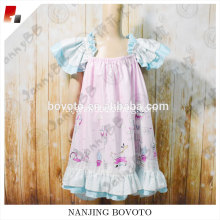 Pink balloon printed dress cotton lace on sleeve and bottom