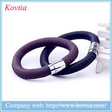Pulseira de couro magnético pulseira de aço inoxidável fivela charme pulseira