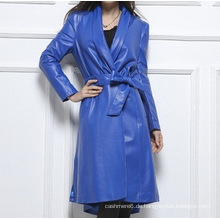 Bunte lange Art-echtes Lederjacke für Frauen