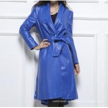 Veste en cuir véritable de style long pour femme