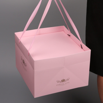 Pink Cake box Handle Food Packaging Box Bakery