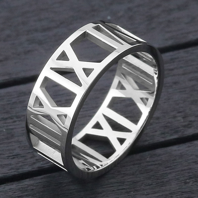 Stainless Steel Roman Numeral Ring
