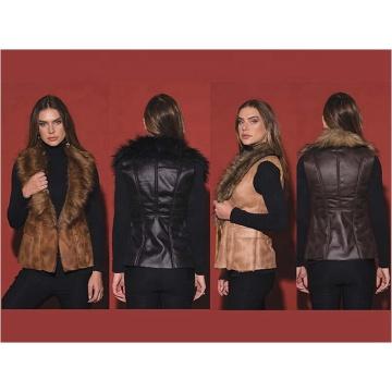Chaleco de mujer de moda de piel falsa cálida de invierno