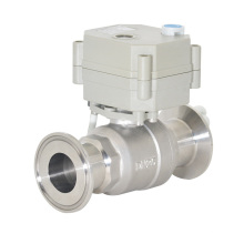 2 Way Electric Motorized Flow Sanitary Clamped Stainless Steel Ball Valve with Manual Operation