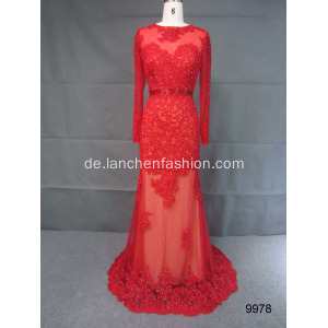 Eleganter Spitze Illusion Langarm Abendkleid