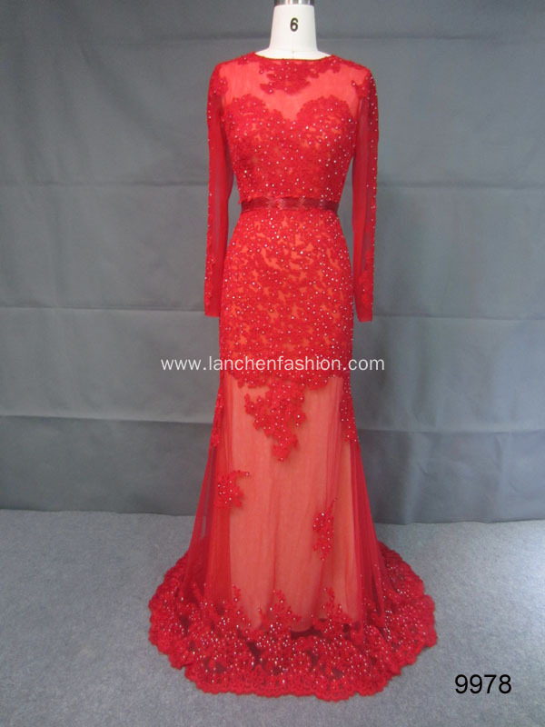 Embroidered Dress with Illusion Neckline