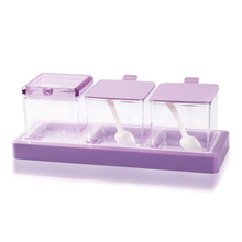 Lila Plastikküche Gewürzglas