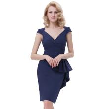 Belle Poque Retro Vintage 1950s Cap Sleeve V-Neck Hips-Wrapped Bodycon Pencil Navy Blue Dress BP000301-1