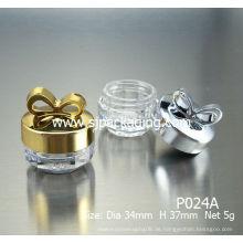 Helle Farbe bowknot Kosmetik Gläser 5g leere kosmetische Flasche Luxus Kosmetik Gläser