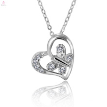 Butterfly Heart Designed Fashion Necklace Silver Pendant For Lover