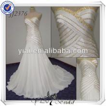 JJ2376 Sweetheart Mermaid Chiffon White And Gold Wedding Dresses