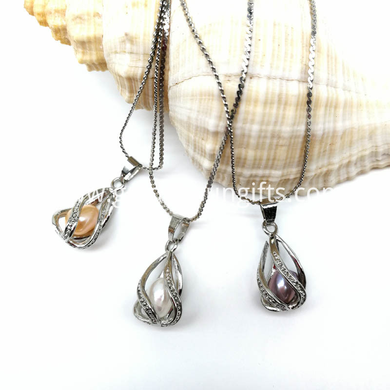 Water Drop Silver Plated Cage Pendant Necklace