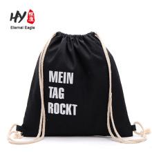 High quality black canvas drawstring backpack