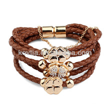 Vente en gros bracelet en cuir tressé brun