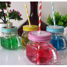 Мини стеклянная кружка или чашка с ручкой, Mason Storage Glass Jar