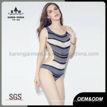 Ladies Latest Design Beach Wear Striped Knit Tankini