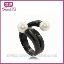 Unique pérola jóias anéis de aço inoxidável