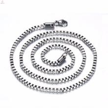 Alto grau de aço inoxidável longo prata 3mm caixa cadeia colar