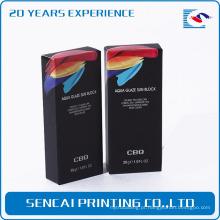 Embalagem de papel de forro de lábio high-end de cor preta para cosméticos