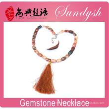 Bijoux en pierre naturelle à la main nouée à rayures pompon collier Boho colliers