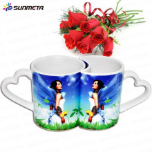Best Selling 11oz ceramic lover's sublimation mug with heart handle