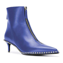 Ankle Boots with Rhinestone Women Fashion Genuine Leather Custom Safety Dress Zipper up Formal Low Heel Boots for Ladies