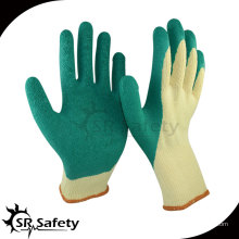 SRSafety Желтый латекс с зеленым поликоктом с латексным покрытием и пальцем, высококачественные латексные рабочие перчатки из Китая