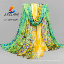 LINGSHANG DXF2 wholesale fashionable accessories girl dress silk feel scarf magic printing chiffon scarf