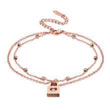 Simples rosa de ouro de 11 polegada projetos de tornozeleira de noiva