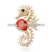2016 объемных dubai золотых ювелирных изделий морской конек броши прекрасный горный хрусталь броши для девочек