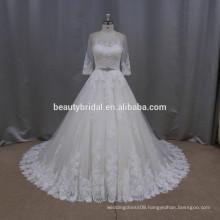 LA017 real a line luxury beaded illusion neckline pakistani bridal dresses with beaded saah