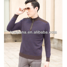 12GG jaqueta de cashmere masculina com meia-zip