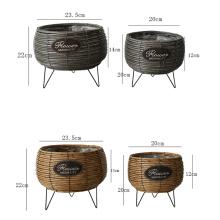Wholesale price home decor round hand woven plastic rattan flower basket artificial flowers basket for flowers arrangement