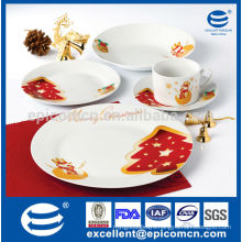 golden yellow snowman and red tree painting 20pcs round porcelain christmas dinner set