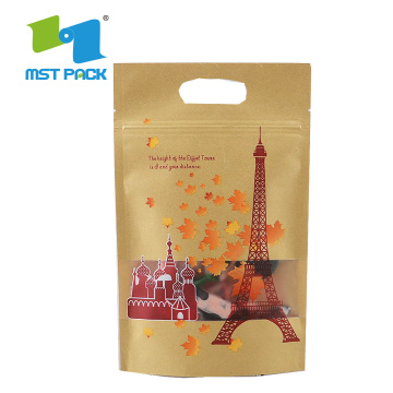 Bolsa de papel Kraft PLA biodegradable compostable con ventana