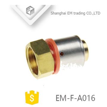 EM-F-A016 Hexagonal rosca hembra adaptador de tubería de latón conector de compresión