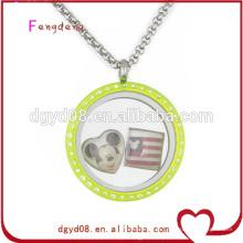 colar de medalhão flutuante de vidro