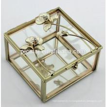 Красивая хрустальная шкатулка украшений с металлическими роза для свадебного подарка и украшения сувениры