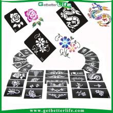 200 piezas mezclada diseños brillo del tatuaje temporal plantillas tatuaje plantillas /glitter plantillas de tatuajes por mayor