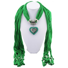 China manufacture high quality printed stone necklace tassels plain pendant scarf wholesale