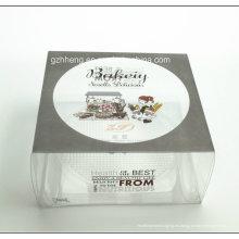 Caja de torta plástica transparente impresa aduana del PVC (caja de embalaje de la torta de los PP)