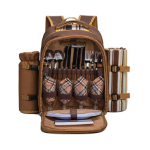 Wholesale waterproof 4 person camping bag with wine bag and accessories, blanket picnic bag set