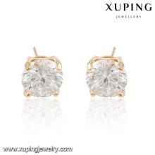 92285 xuping aretes de piedra blanca con baño de oro blanco