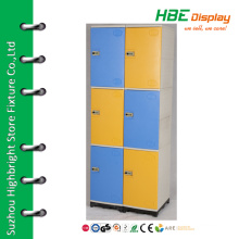 Colorful plastic 6 door locker for supermarket