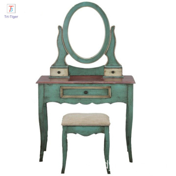 Mediterranean style green Drawer Mirrored Wooden Dressing Table