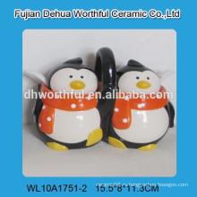 Рекламный керамический горшок для приправы с фигуркой пингвина