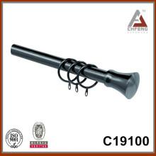 C19100 accesorios de hardware conjunto de la barra de cortina, finial de la barra de cortina de metal, barra de doble cortina